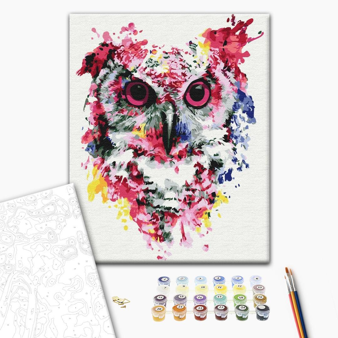 Картина по номерам Поп-арт - Сова в красках