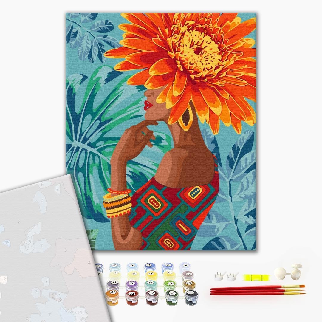 Картина по номерам ПРЕМИУМ картины - Девушка - тропический цветок