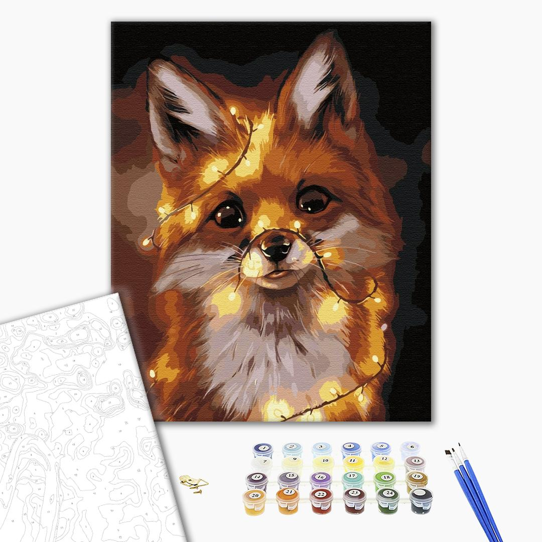 Картина по номерам Животные, птицы и рыбы - Лисичка в огоньках