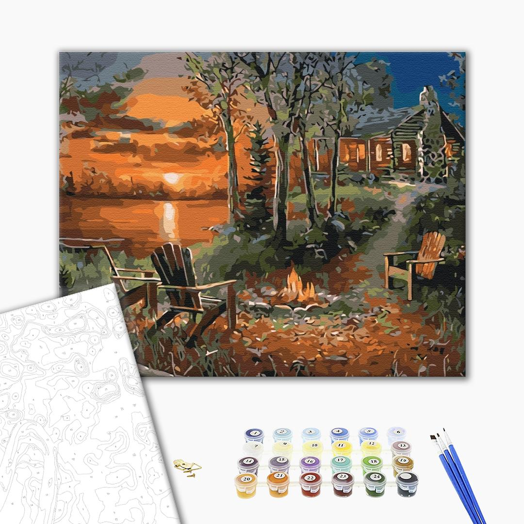 Картина по номерам Природа - Будинок біля озера