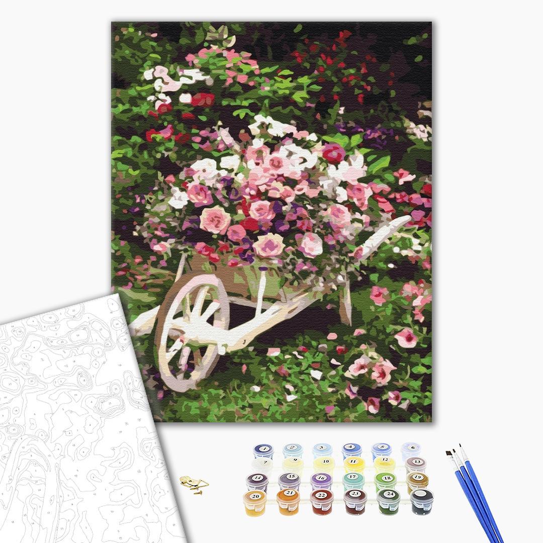 Картина по номерам Цветы - Садовая тележка с цветами