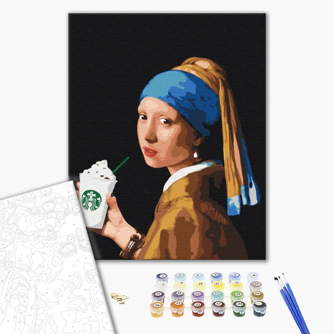 Картина по номерам Люди на картинах - Девушка с двойным латте