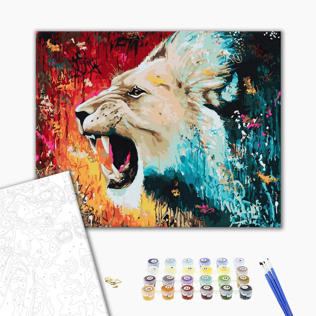 Картина по номерам Животные, птицы и рыбы - Разъяренный лев