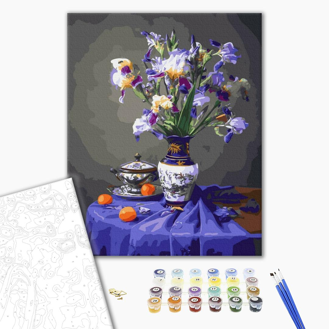 Картина по номерам Цветы - Натюрморт з ірисами