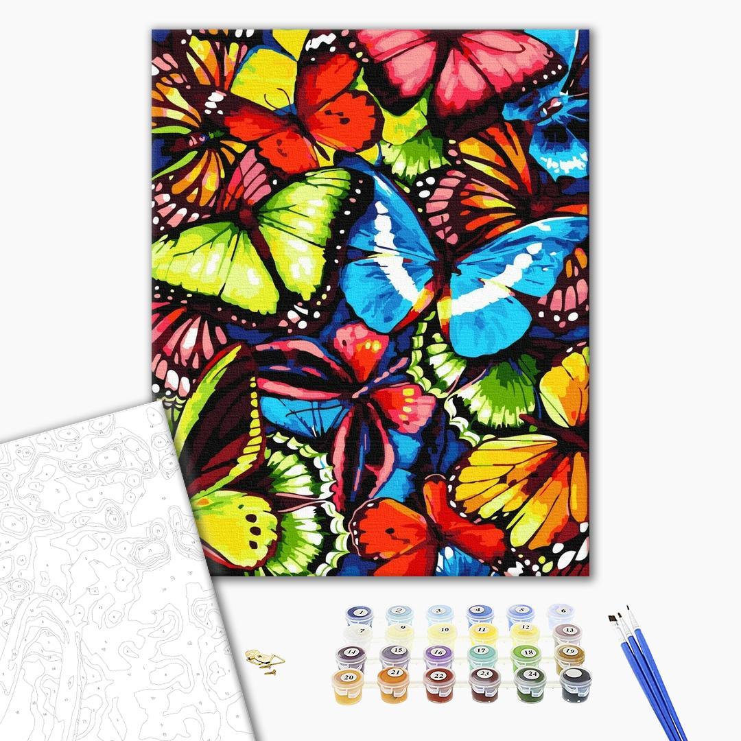 Картина по номерам Поп-арт - Разноцветные бабочки
