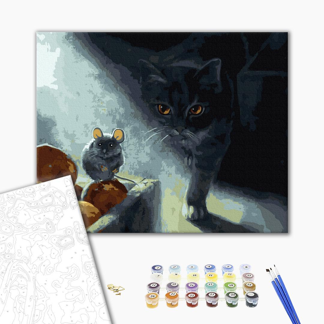 Картина по номерам Животные, птицы и рыбы - Кот-охотник в тени