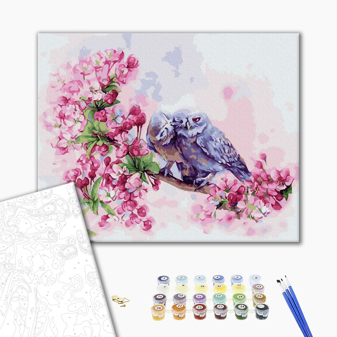 Картина по номерам Животные, птицы и рыбы - Влюбленные совушки