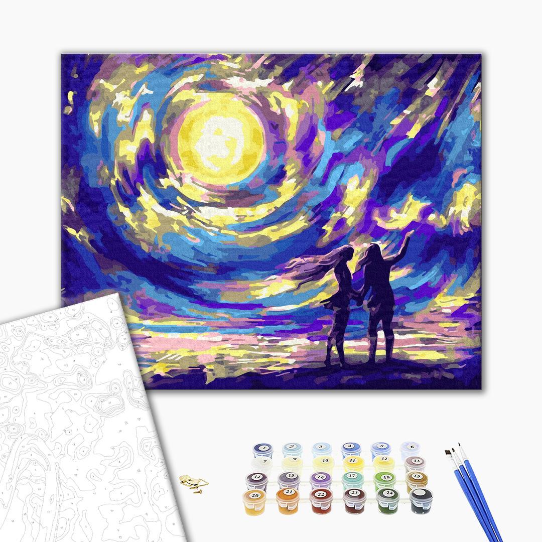 Картина по номерам Романтика - Звездная ночь для влюбленных