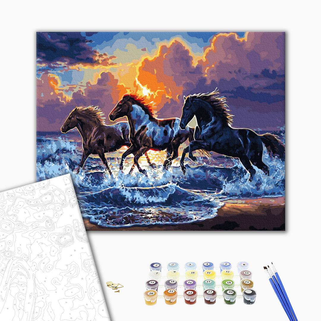 Картина по номерам Животные, птицы и рыбы - Табун чорних скакунів