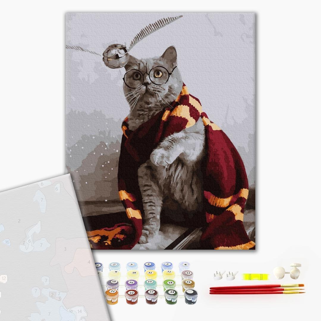 Картина по номерам ПРЕМИУМ картины - Котик ловец снитча