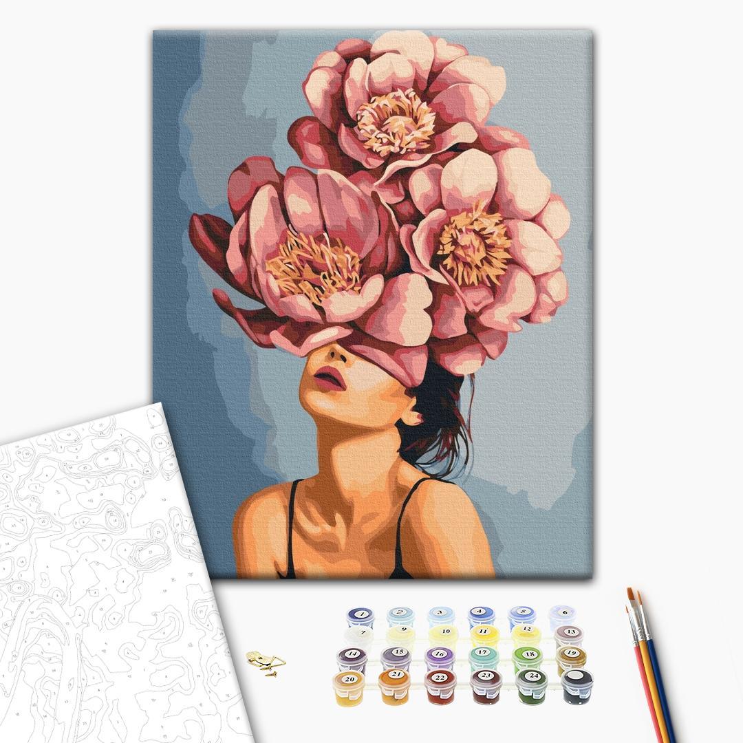 Картина по номерам Авторские коллекции - Девушка в цветущих пионах