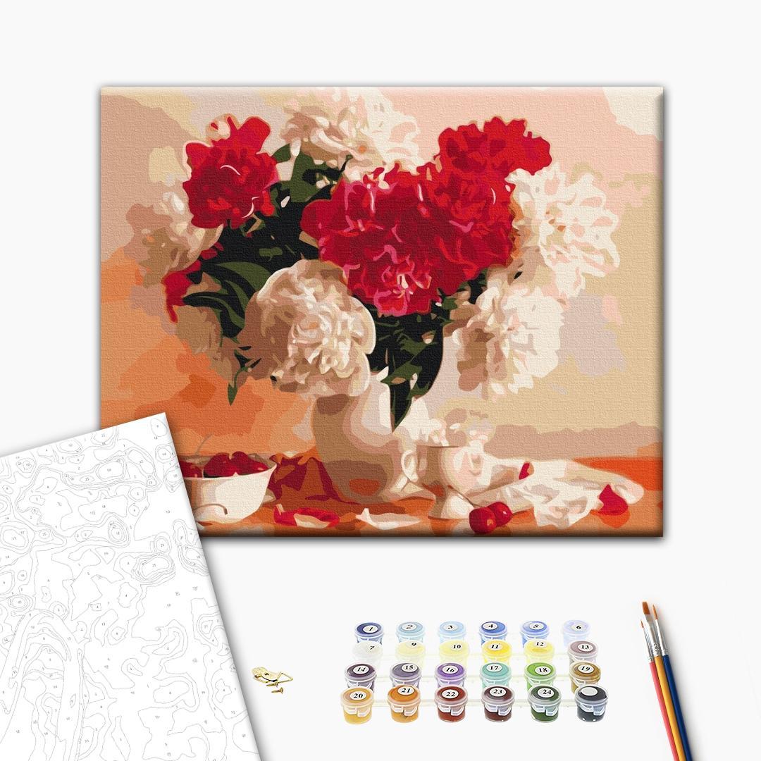 Картина по номерам Цветы - Красно-белые пионы и вишни